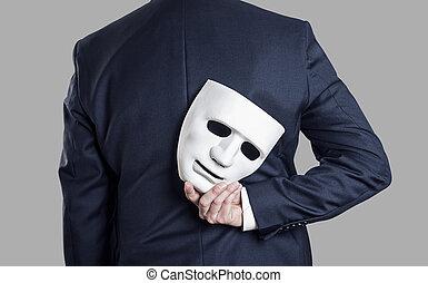 máscara, hombre de negocios, concept., empresa / negocio, fraude, el suyo, piel, entregue atrás, back.