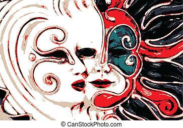 máscara, ilustración, vector, carnaval