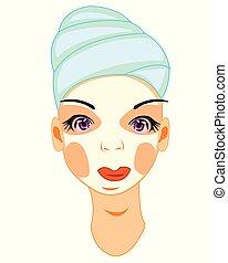 máscara, jovem, ilustração, pessoa, vetorial, menina, creme