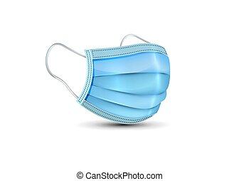máscara, médico, mask., vector, realista, máscara, protection., aislado, blanco, quirúrgico, plano de fondo, cara, respiratorio, seguridad, hospital, respiración, covid-19, 3d