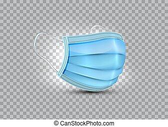 máscara, médico, mask., vector, realista, máscara, protection., aislado, quirúrgico, plano de fondo, respiratorio, cara, seguridad, hospital, transparente, respiración, covid-19, 3d