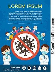 máscara, médico, protector, doctor, coronavirus, familia , abuelo, llevando, covid-19