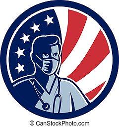 máscara, macho, llevando, quirúrgico, estados unidos de américa, mascota, bandera, enfermera