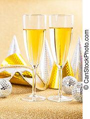 máscara, mascarada, champanhe