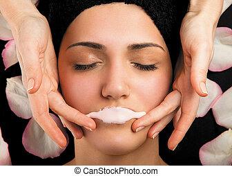 máscara, massagem, lábios, terapia