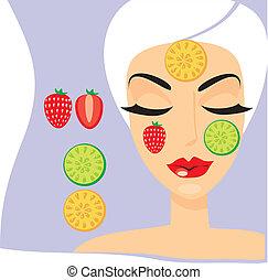 máscara, mujer, cosmetología, fruta, persona