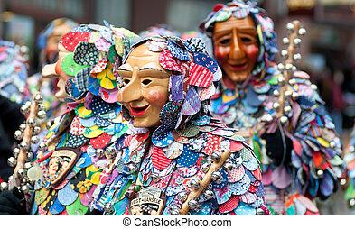 máscara, parada, em, a, histórico, carnaval, em, freiburg,...