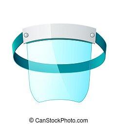 máscara, plástico, pantalla, cara, 3d, vector, protector