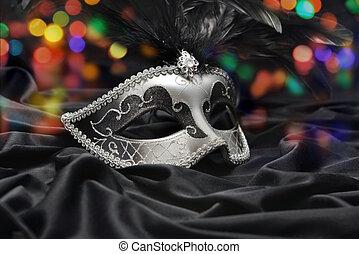 máscara, plano de fondo, hermoso, luz, oscuridad, tela, ...