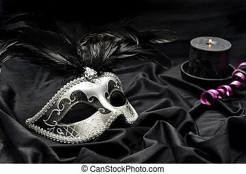 máscara, plano de fondo, vela, hermoso, oscuridad, tela, ...