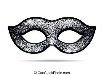 máscara, plata, carnaval, brillar