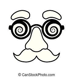 máscara, pretas, nariz, fraude, branca, bigode, óculos