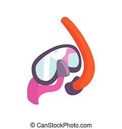 máscara que zambulle, y, tubo que respira, para, snorkeling