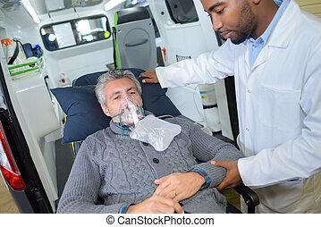 máscara, respiración, paciente