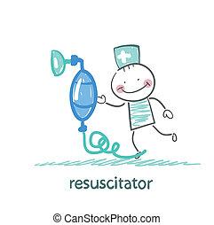 máscara, resuscitation, oxigênio