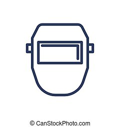 máscara soldadura, línea, delgado, icono