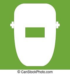 máscara, soldadura, verde, icono