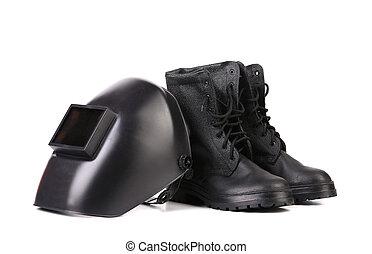 máscara soldadura, y, trabajando, boots.