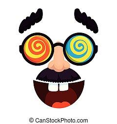 máscara, sorrizo, fools, dia, bigode, óculos