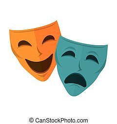 máscara teatro, isolado, ícone