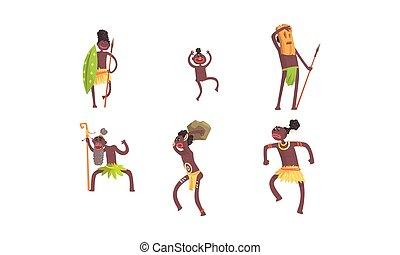 máscara, vector, baile, vudú, africano, caracteres, hombre,...