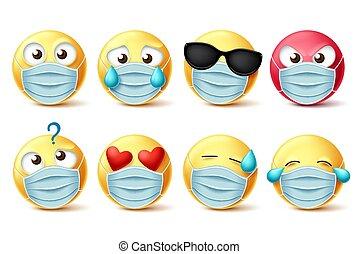 máscara, vector, emojis, emoticons, cara, set., covid-19