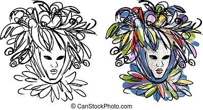 máscara veneziana, esboço, desenho, seu