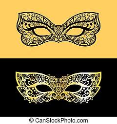 máscara veneziana, renda, ouro