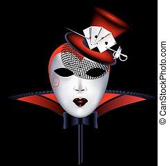 máscara, vermelho, senhora