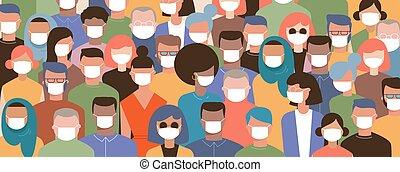 máscaras, aire, vector, mundo, aire, prevenir, coronavirus, ...