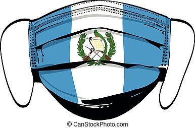 máscaras, bandeira branca, médico, rosto, guatemala, isolado