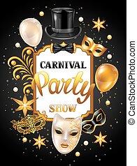 máscaras, cartão, ouro, celebração, decorations., fundo, carnaval, convite, partido