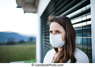 máscaras, concept., aire libre, cuarentena, cara, corona, mujer, virus, hogar
