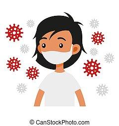 máscaras, coronavirus, infection., vector, protector, niña, ...