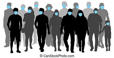máscaras, médico, silueta, vector, gente, prevenir, grupo, ...