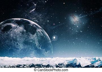 másik, világ, táj, elvont, képzelet, háttér