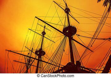 mástil, velero, en, ocaso