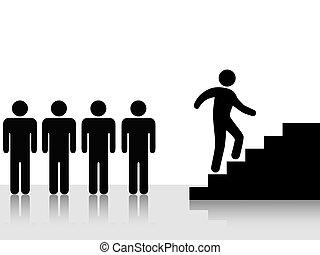 mászik, lépcsősor feláll, elér, emberek