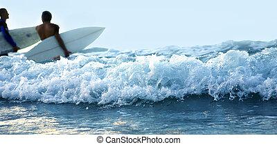 mávnutí, a, klouzání na vlnách