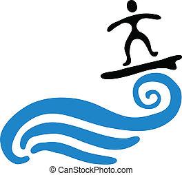 mávnutí, vektor, ilustrace, surfer