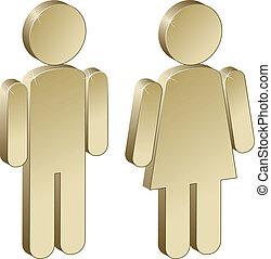 mâle, 3d, femme, métallique