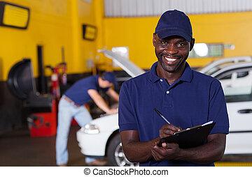mâle américain africain, véhicule, mécanicien, écriture,...