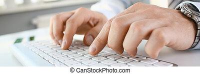 mâle, bras, complet, dactylographie, argent, clavier