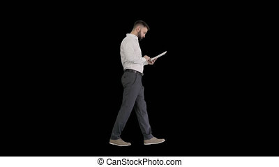 mâle, canal, jeune, tablette, appareil photo, consentir, alpha, sérieux, numérique, utilisation, regarder, cadre