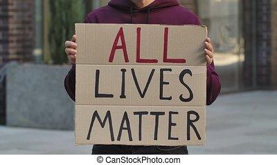 mâle, carton, arrêt, racism., protest., mains, vies, rue, ...