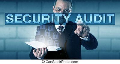 mâle, constitué, auditeur, toucher, sécurité, audit