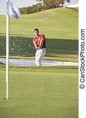 mâle, coup, cours, soute, golfeur, golf jouant