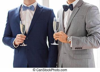 mâle, couples gais, haut fin, lunettes champagne