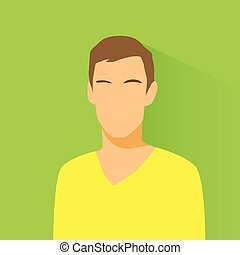 mâle, désinvolte, avatar, profil, portrait, icône, personne...