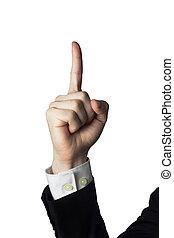 mâle, doigt indique, haut